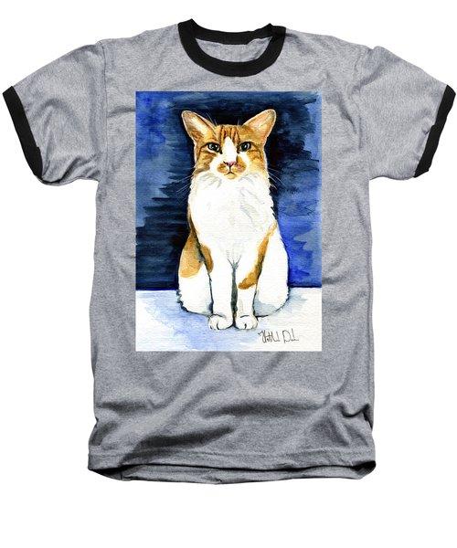 Mustached Bicolor Beauty - Cat Portrait Baseball T-Shirt
