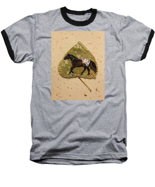 Mustang Appaloosa On Poplar Leaf Baseball T-Shirt