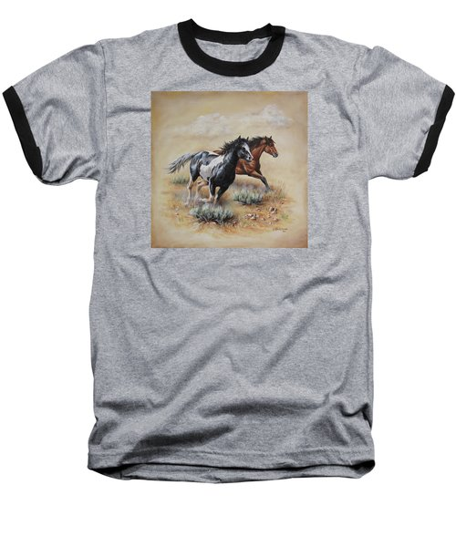 Mustang Glory Baseball T-Shirt by Kim Lockman