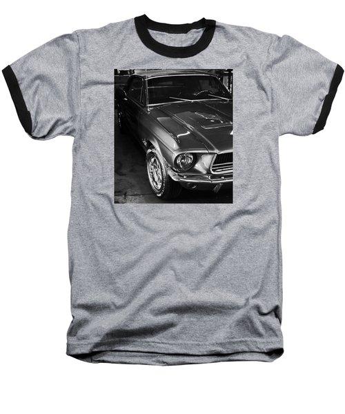 Mustang In Black And White Baseball T-Shirt
