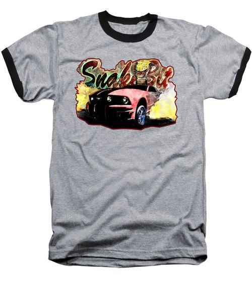 Mustanger Snakebit Burnout Hot Rod Art Baseball T-Shirt