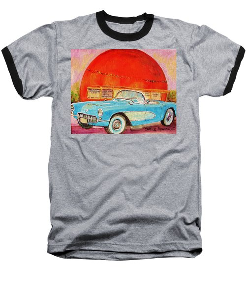 Baseball T-Shirt featuring the painting My Blue Corvette At The Orange Julep by Carole Spandau