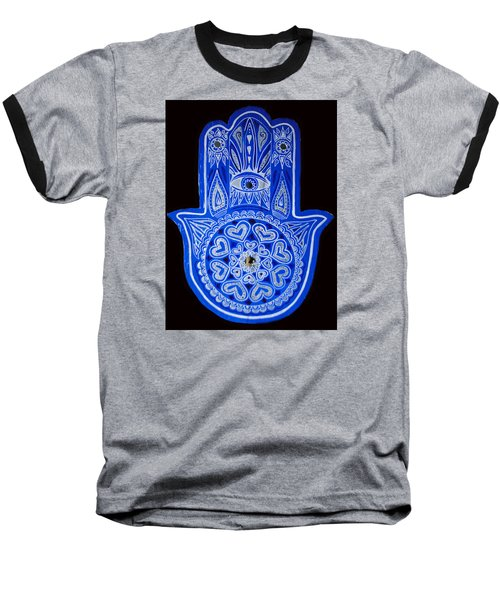 Baseball T-Shirt featuring the painting My Blue Hamsa by Patricia Arroyo