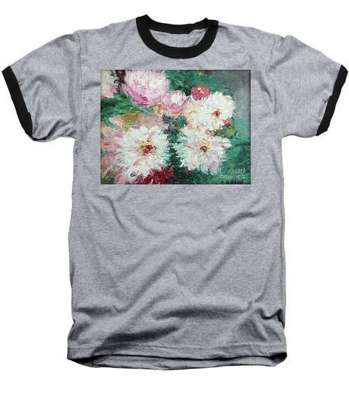 Baseball T-Shirt featuring the painting My Chrysanthemums by Barbara Anna Knauf