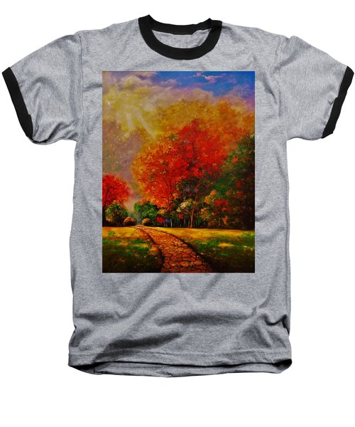 Baseball T-Shirt featuring the painting My Favorite Park by Emery Franklin