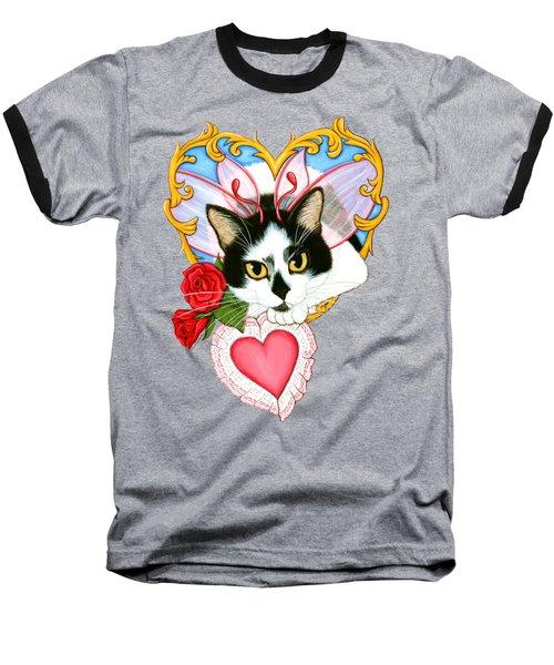 My Feline Valentine Tuxedo Cat Baseball T-Shirt