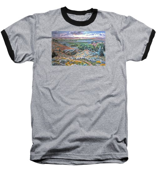 Baseball T-Shirt featuring the painting My Home Looking West by Dawn Senior-Trask