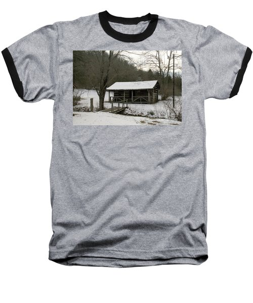 My Lil Cabin Home On The Hill In Winter Baseball T-Shirt