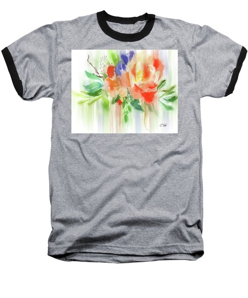 Baseball T-Shirt featuring the painting My Roses Gently Weep by Colleen Taylor