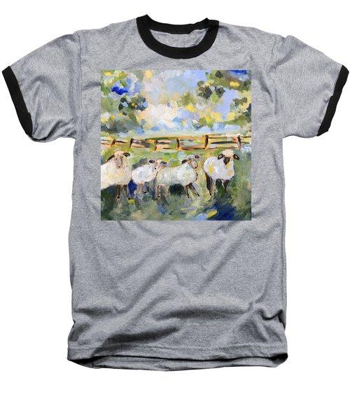 My Sheep Will Follow Me Baseball T-Shirt by Teresa Tilley