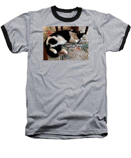 Baseball T-Shirt featuring the photograph My Sleeping Cat by Vicky Tarcau