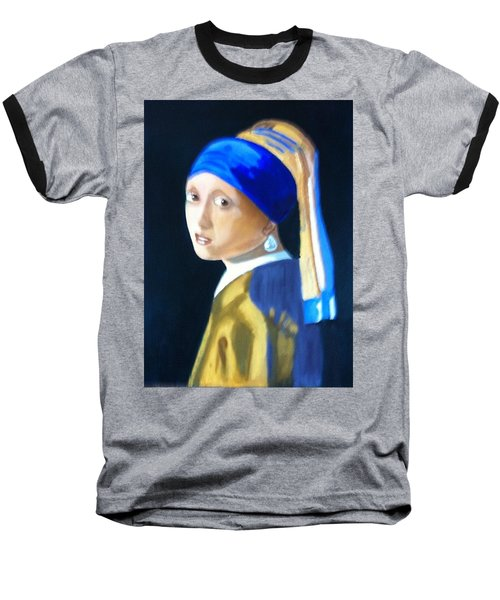 Baseball T-Shirt featuring the painting My Version-girl With The Pearl Earring by Rod Jellison