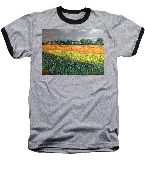 My View Of Arles With Irises Baseball T-Shirt