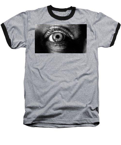 Baseball T-Shirt featuring the digital art My Window In Bw by Shelli Fitzpatrick