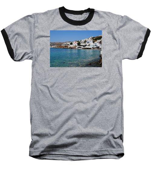 Mykonos Beach Baseball T-Shirt by Robert Moss