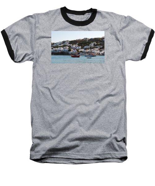 Mykonos Fishing Boats Baseball T-Shirt by Robert Moss