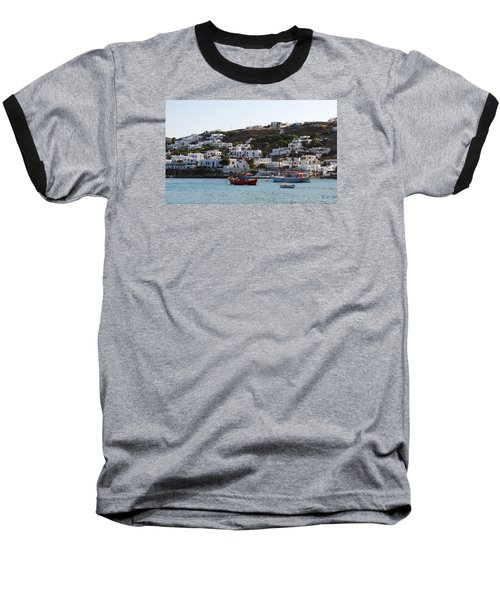 Mykonos Fishing Boats Baseball T-Shirt