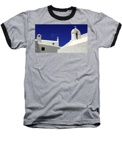 Mykonos Greece Architectual Line 5 Baseball T-Shirt by Bob Christopher