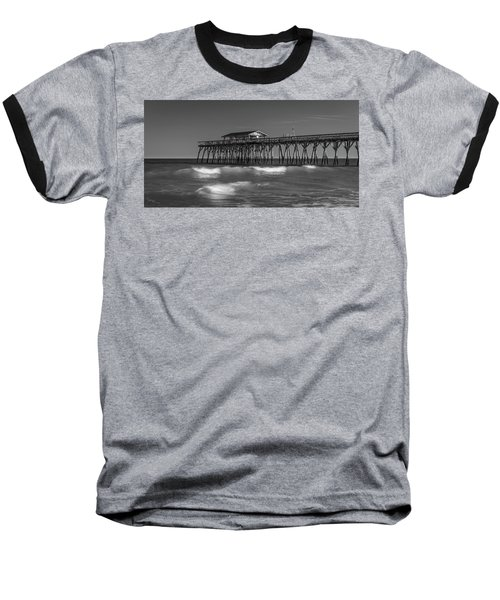 Myrtle Beach Pier Panorama In Black And White Baseball T-Shirt