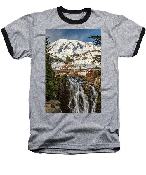 Myrtle Falls, Mt Rainier Baseball T-Shirt by Tony Locke
