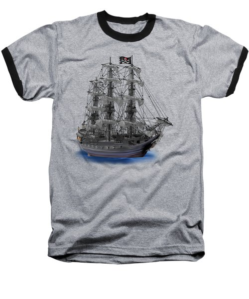 Mystical Moonlit Pirate Ship Baseball T-Shirt by Glenn Holbrook