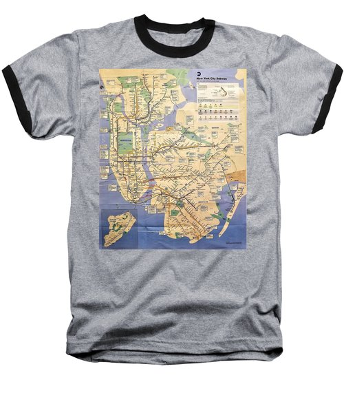 N Y C Subway Map Baseball T-Shirt