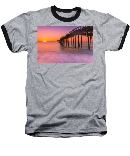 Nags Head Avon Fishing Pier At Sunrise Baseball T-Shirt