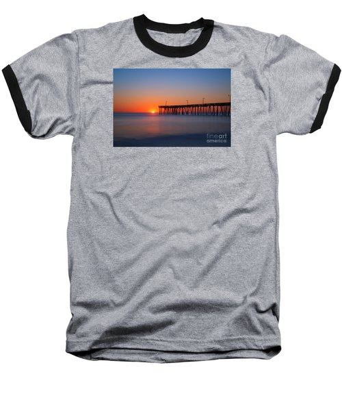 Nags Head Fishing Pier Sunrise Baseball T-Shirt