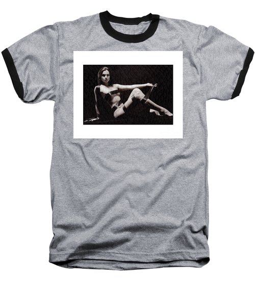 Naked Girl With Tape Around Her Baseball T-Shirt