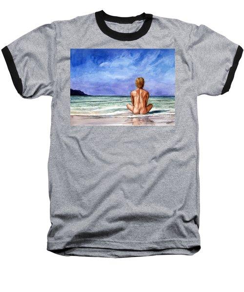 Naked Male Sleepy Ocean Baseball T-Shirt