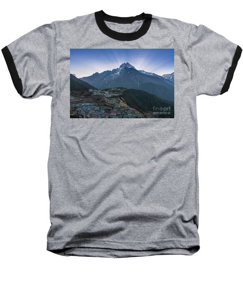 Baseball T-Shirt featuring the photograph Namche And Thamserku Peak Morning Sunrays by Mike Reid