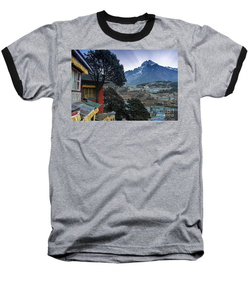 Baseball T-Shirt featuring the photograph Namche Monastery Morning Sunrays by Mike Reid