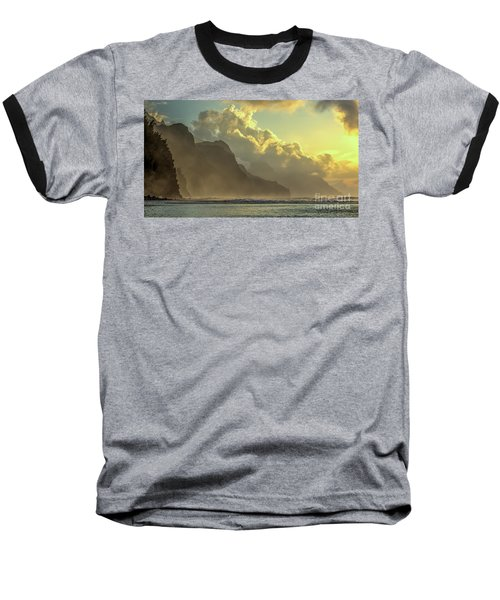 Napali Coast Kauai Hawaii Dramatic Sunset Baseball T-Shirt