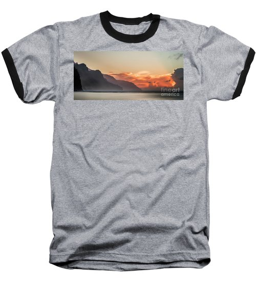 Napali Coast Kauai Hawaii Panoramic Sunset Baseball T-Shirt