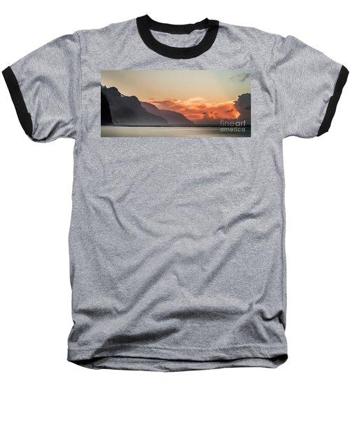 Napali Coast Kauai Hawaii Panoramic Sunset Baseball T-Shirt