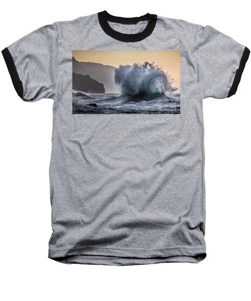 Napali Coast Kauai Wave Explosion Baseball T-Shirt