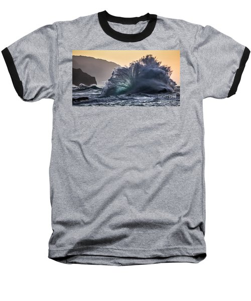 Napali Coast Kauai Wave Explosion Hawaii Baseball T-Shirt