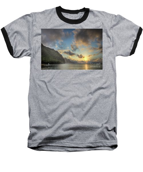 Napali Coast Sunset Kauai Baseball T-Shirt