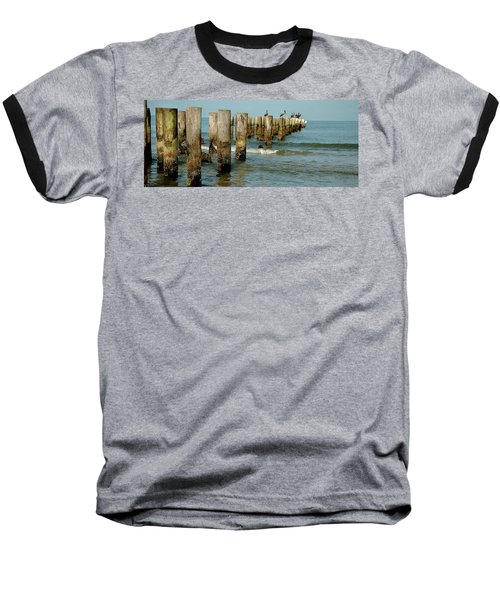 Naples Pier And Pelicans Baseball T-Shirt