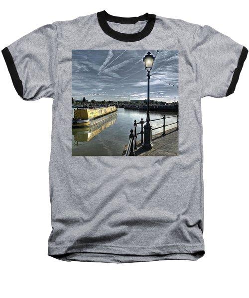 Narrowboat Idly Dan At Barton Marina On Baseball T-Shirt by John Edwards