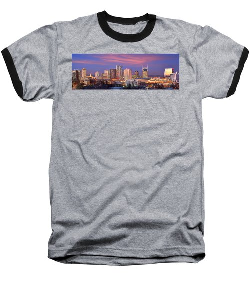 Nashville Skyline At Dusk 2018 Panorama Color Baseball T-Shirt