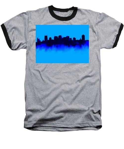 Nashville  Skyline Blue  Baseball T-Shirt by Enki Art