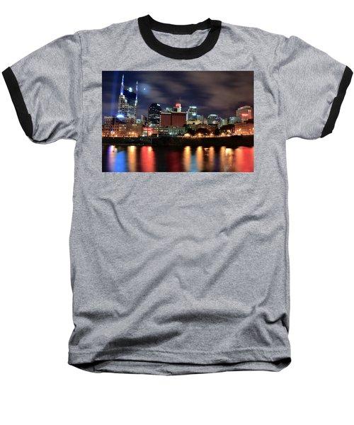 Nashville Skyline Baseball T-Shirt by Frozen in Time Fine Art Photography