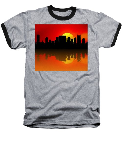 Nashville Skyline Sunset Reflection Baseball T-Shirt by Dan Sproul