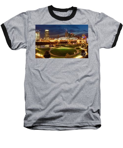Baseball T-Shirt featuring the photograph Nashville Twilight Skyline by Brian Jannsen