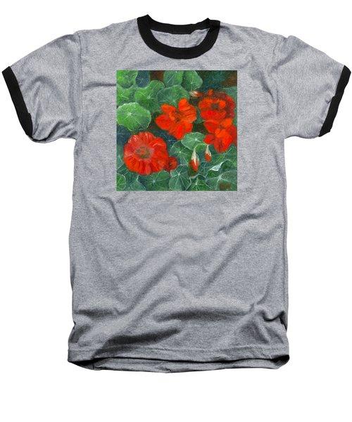 Nasturtiums Baseball T-Shirt by FT McKinstry