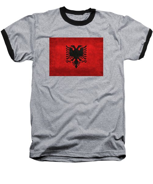 National Flag Of Albania With Distressed Vintage Treatment  Baseball T-Shirt by Bruce Stanfield
