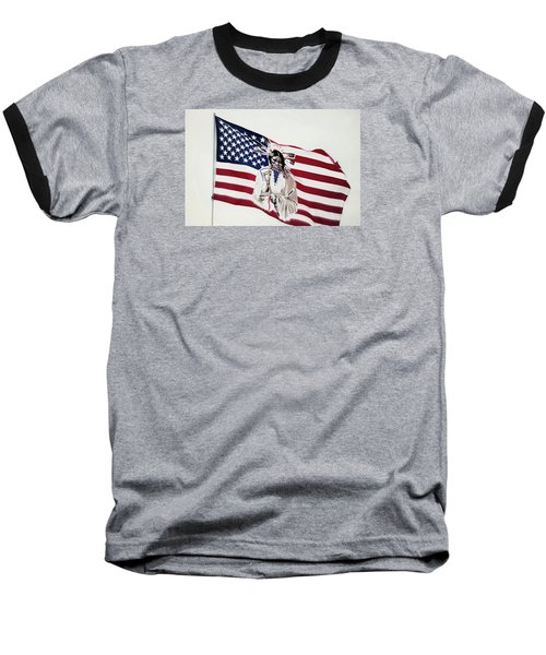 Baseball T-Shirt featuring the photograph Native American Flag by Emanuel Tanjala