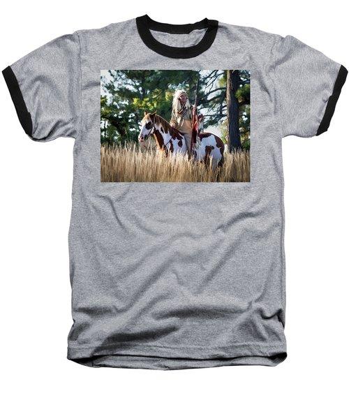 Native American In Full Headdress On A Paint Horse Baseball T-Shirt