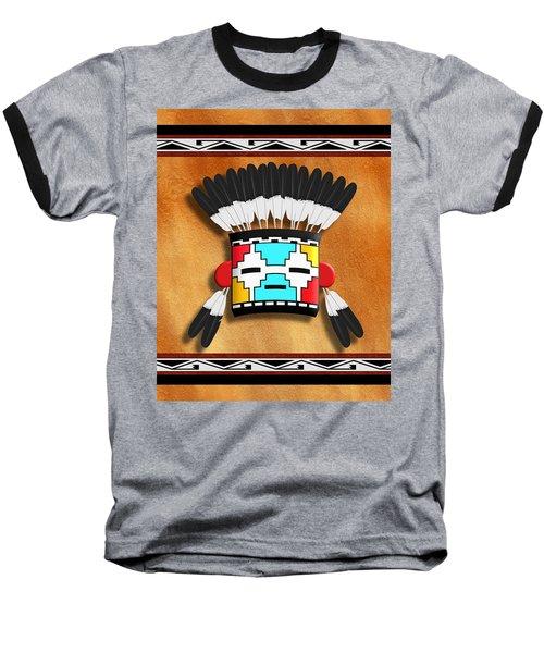 Native American Indian Kachina Mask Baseball T-Shirt by John Wills